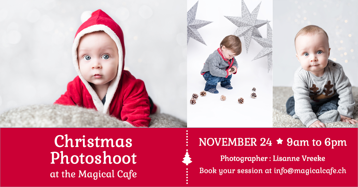 Christmas family photoshoot at the Magical Cafe in Basel